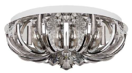 Plafon Redondo Inox Cromado Cristal Asfour Transparente Ø45 InLaghi Luciin G9 Ts031/l Quartos e Salas