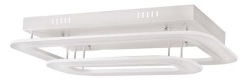 Plafon Retangular Sobrepor Metal Branco Fosco 68x43 InModuli Luciin Led Zg202 Salas e Quartos