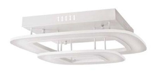 Plafon Retangular Sobrepor Metal Branco Acrílico Fosco 53x53 InModuli Luciin Led Zg200 Salas e Escritórios