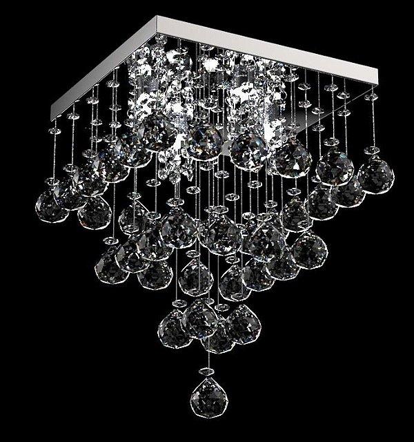 Plafon Sobrepor Quadrado Cristal K9 Transparente Inox Espelhado 21x21 New Design G9 300/21 Quartos e Lavabos