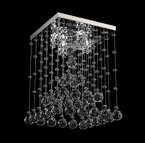 Plafon Sobrepor Cristal Transparente K9 Inox Espelhado Pirâmide 42x42 New Design G9 302/42 Hall e Salas