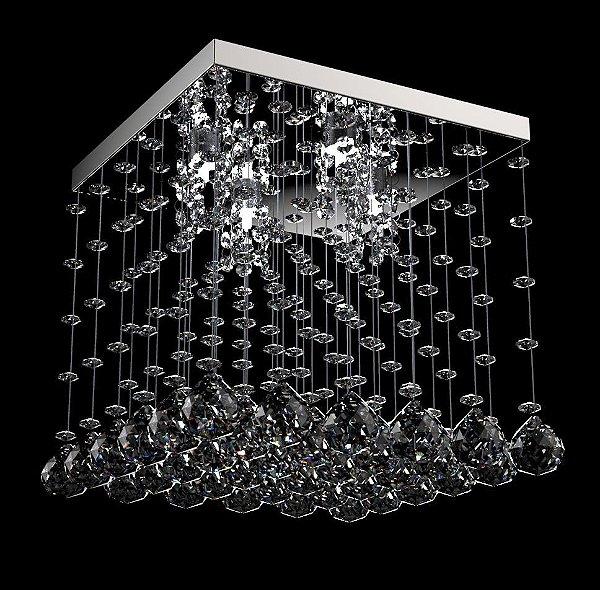 Plafon Sobrepor Quadrado Translúcido Cristal K9 Inox 32x32 New Design G9 303/32 Salas e Quartos