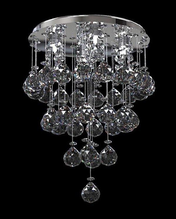 Plafon Sobrepor Redondo Cristal K9 Inox Espelhado Ø15x23 New Design 400/15 Salas e Quartos