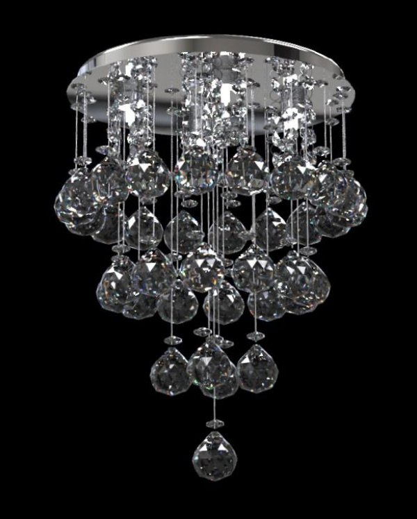 Plafon Redondo Sobrepor Simétrico Cristal K9 Inox Espelhado Ø23 New Design G9 400/23 Salas e Quartos