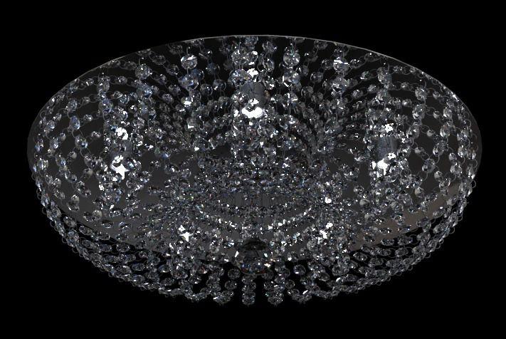 Plafon Cristal Transparente Redondo Aço Inox Espelhado Ø42 New Design G9 952/42 Hall e Salas