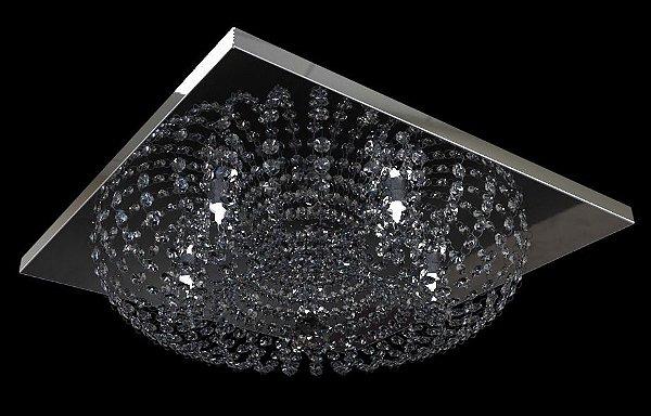Plafon Sobrepor Cristal K9 Inox Espelhado Redondo Base Quadrada 30x30 New Design G9 960/30 Hall e Salas
