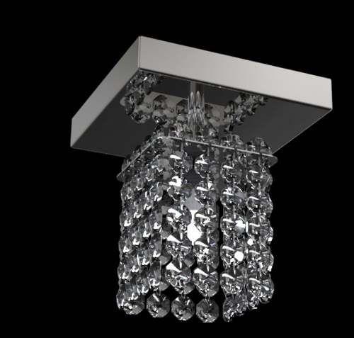 Plafon Quadrado Alumínio Espelhado Cristal Transparente Castanha 12x12 New Design G9 Pf812/1 Quartos e Salas