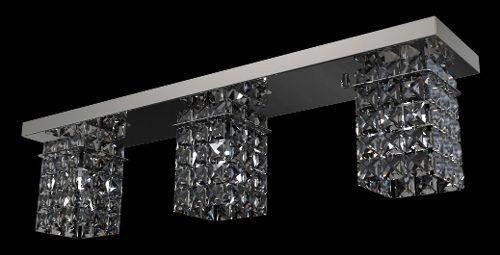 Plafon Sobrepor Retangular Cristal Transparente K9 Inox 60x12 New Design G9 Pf814/3 Salas e Escritórios