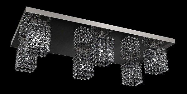 Spot Plafon Inox Cristal Legítimo 60x30 Luminária Sala Salão Estar Comercial Quarto Pf-812/6 New