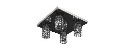 Spot Lustre Plafon Inox Cristal Legítimo 30x30 Luminária Sala Salão Estar Comercial Quarto Pf-813/4 New