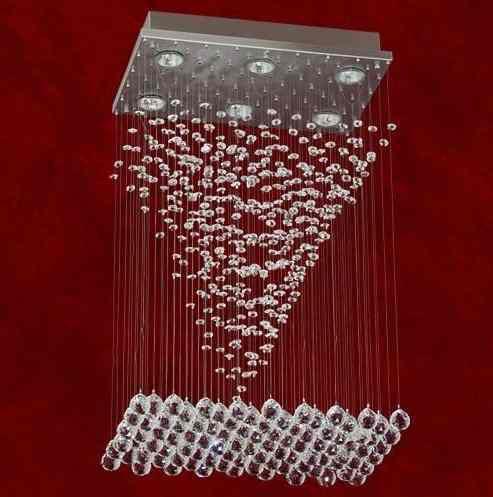 Lustre Quadrado Palermo Pirâmide Cristal Transparente 9 Lâmpadas 43x43 Trieste Mr Iluminação Gu10 2282-9-b30 Salas e Hall