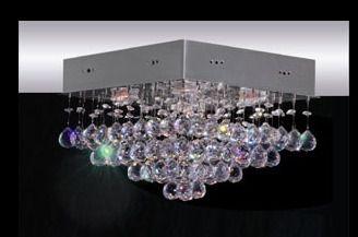 Plafon Cristal Inox 30x30 Luminária Sala Salão Estar Comercial Quarto 1363 Torres