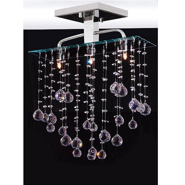 Plafon Cristal Inox 45x15 Luminária Sala Salão Estar Comercial Quarto 2022 Torres