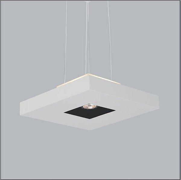 Pendente Quadrado Acrílico Branco Central 40x40 Bore Usina Design 4 E27 + 01 AR 4602/40 Quartos e Salas