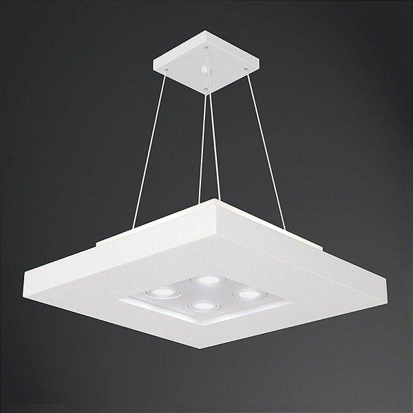 Pendente Quadrado Acrílico Branco Decorativo 60x60 Bore Usina Design E-27 + Dicróica 4601/60 Entradas e Quartos