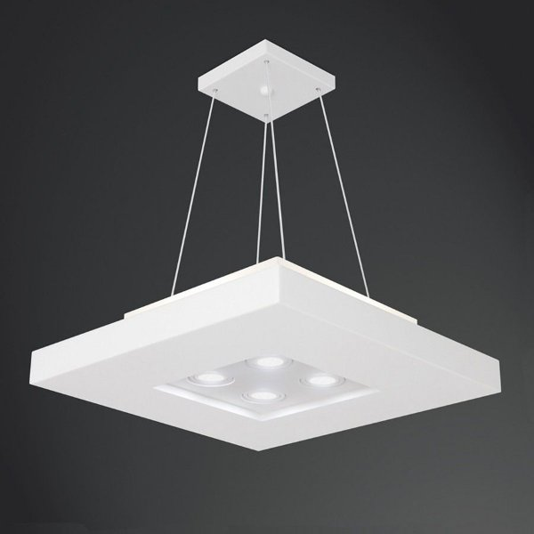 Pendente Quadrado Acrílico Branco Texturizado Central 60x60 Bore Usina Design E27 + AR 4603/60 Cozinhas e Hall