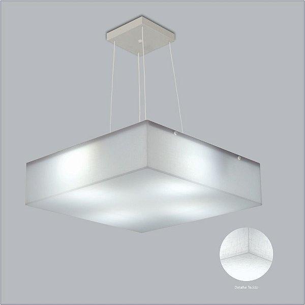 Pendente Quadrado Difusor Tecido Branco Cristal 6 Lâmpadas 55x55 Polar Usina Design E-27 10401/55 Quartos e Salas