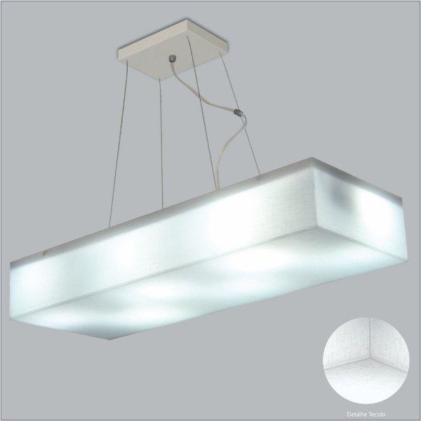 Pendente Retangular Difusor Tecido Cristal 1 Lâmpada Cabo Regulável 11x30 Polar Usina Design E-27 1041130 Quartos e Salas