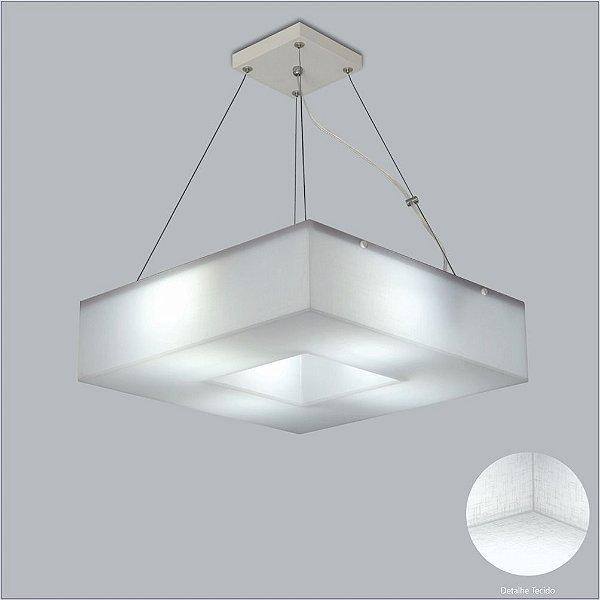 Pendente Quadrado Tecido Branco Cristal 4 Lâmpadas Cabo Regulável 45x45 Geo Usina Design E-27 10601/45 Entradas e Quartos