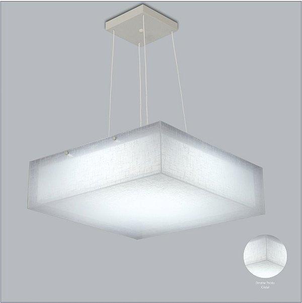 Pendente Quadrado Tecido Branco Cabo Regulável 4 Lâmpadas 42x42 Cotton Usina Design E-27 10701/42 Cozinhas e Entradas
