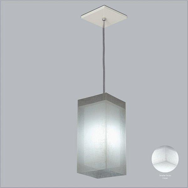 Pendente Vertical Tubo Quadrado Difusor Tecido Cristal 6 Lâmpadas 30x72 Cotton Usina Design E-27 10731/72 Quartos e Salas