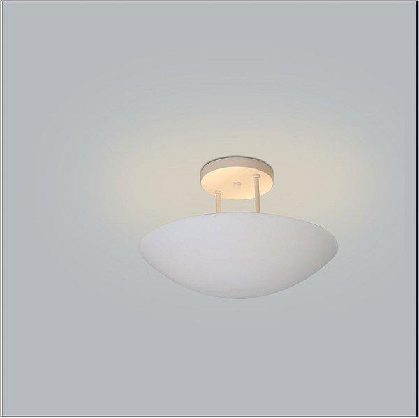 Plafon Sobrepor Redondo  Curvo Branco Fosco c/ Hastes Ø60 Eclipse Usina Design G9 234/60 Salas e Quartos