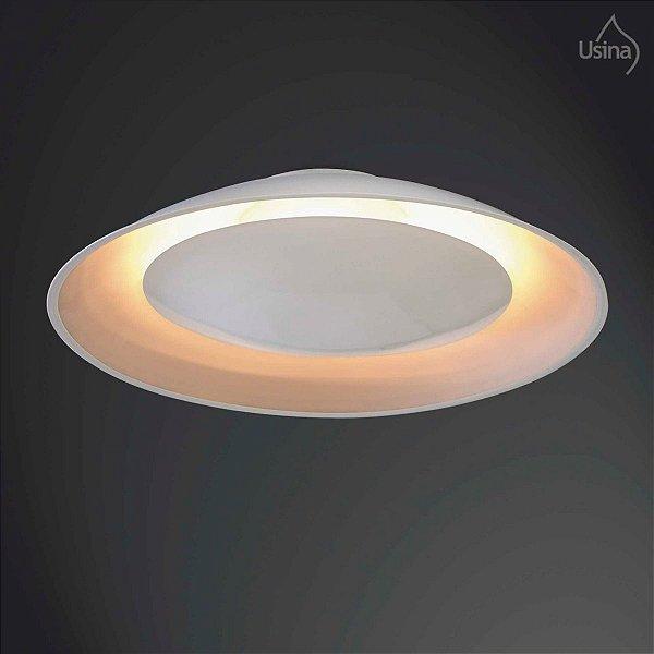 Plafon Sobrepor Branco Alumínio Texturizado Curvo Luz Indireta Ø41 Eclipse Usina Design E-27 238/3 Salas e Quartos