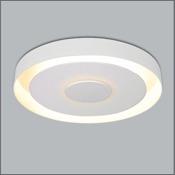 Plafon Sobrepor Redondo Metal Branco Luz Indireta Ø50cm Drones Usina Design G9 291/50 Salas e Cozinhas