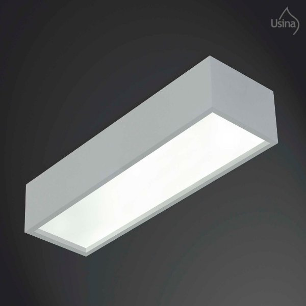 Plafon Sobrepor Retangular Alumínio Fosco Grande 1,25m Tropical Usina Design T5 4017/125f Salas e Quartos