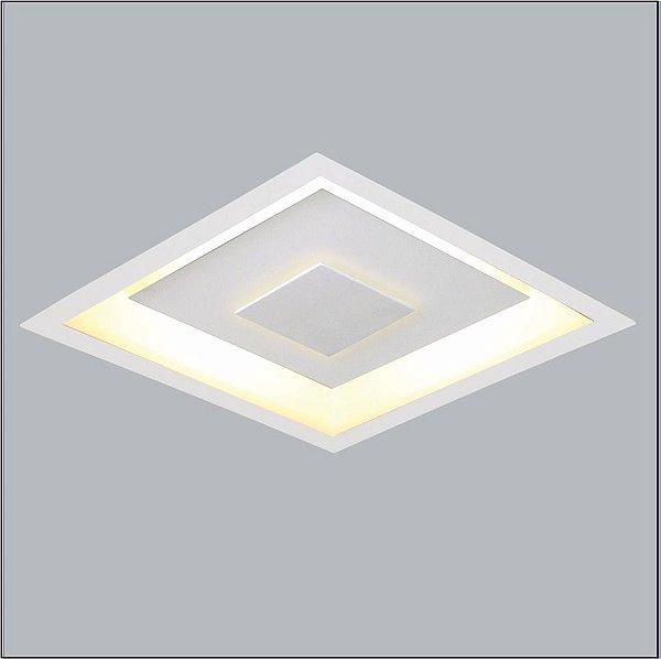 Plafon Embutido Quadrado Branco Inox Bivolt 38x38 Drones Usina Design G9 280/40 Banheiros e Cozinhas