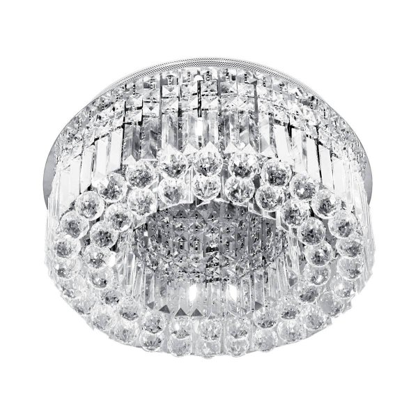 Plafon Sobrepor Redondo Cristal Transparente Lapidado Ø51 Più InVaresi Luciin G9 Lx005 Salas e Quartos