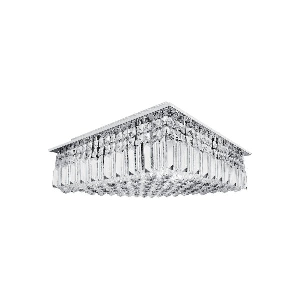 Plafon Quadrado Sobrepor Cristal Transparente 35x35 Più InSalerno Luciin G9 Lx018 Salas e Escritórios