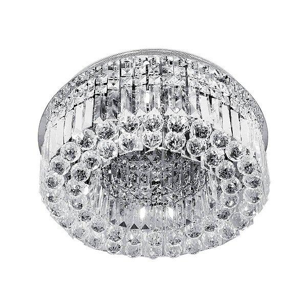 Plafon Sobrepor Redondo Aro de Cristal Transparente Ø35 Più InVaresi Luciin G9 Lx019 Quartos e Salas