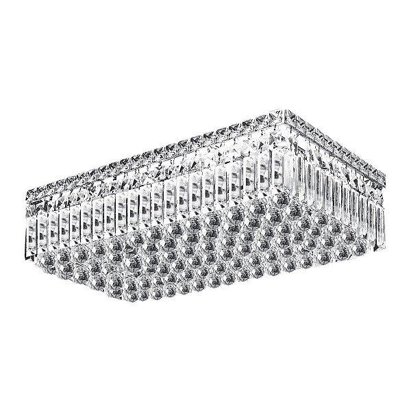 Plafon Sobrepor Retangular Cristal Transparente Lapidado 60x30 Più InSassari Luciin G9 Lx028 Salas e Escritórios