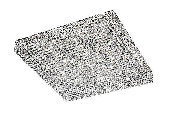 Plafon Sobrepor Quadrado Cromado Big Cristal Transparente 70x70 InCelano Luciin G9 Lx077 Hall e Salas