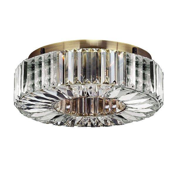Lustre Luminária Plafon Cristal Sala Quarto Teto Moderno Sofisticado Ouro Velho Lx085/11 Luciin