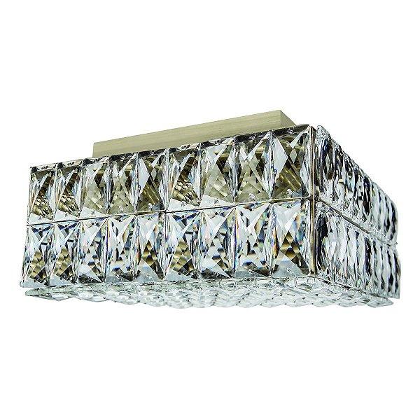 Plafon Sobrepor Quadrado Ouro Velho Cristal Transparente 30x30 Più InCelano Luciin G9 Lx091/11 Hall e Salas