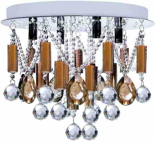 Plafon Controle Remoto Ø40 Redondo Cristal Asfour Champagne Sobrepor Maestro InPalco G9 110v Luciin Ts044/1 Salas e Quartos