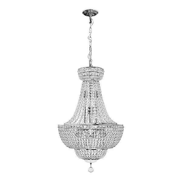 Lustre Imperial Vintage Metal Cromado Cristal 12 Lâmpadas Regulável 50x80 InCastellar Luciin E-14 Lx040 Entradas e Salas