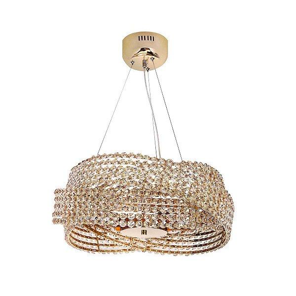 Lustre Design Moderno Trançado Metal Dourado Cristais Champagne 48x20 InAvena Luciin Power Led Zg120/13 Salas e Hall