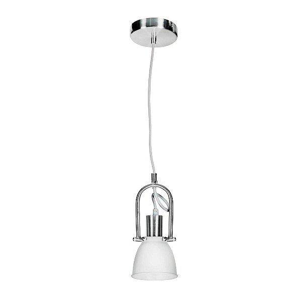 Pendente Vertical Ajustável Branco Alumínio Escovado 12x25 InMilano Luciin E-27 Cf117/3 Quartos e Salas