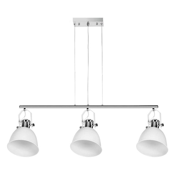 Pendente Triplo Branco Cromado 3 Lâmpadas Decorativo 1mx35cm InCoppa Luciin E-27 Cf144/3 Quartos e Salas