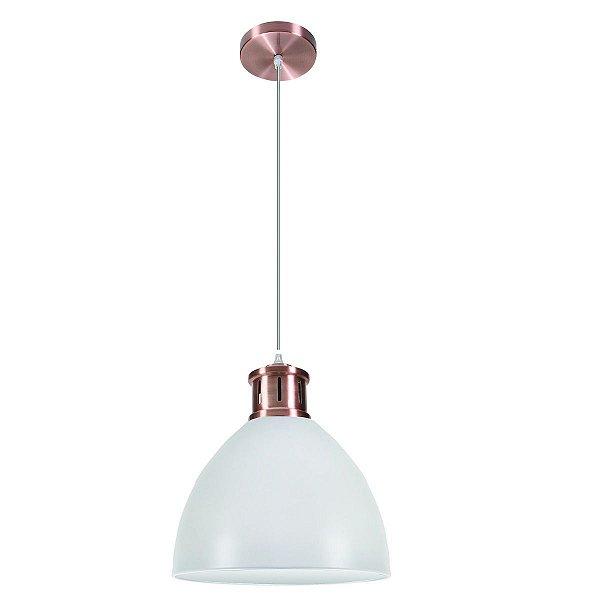 Pendente Vertical Redondo Alumínio Branco Bronze Rose Decorativo 30x41 InVanguard Luciin E-27 Hn012/3 Cozinhas e Quartos