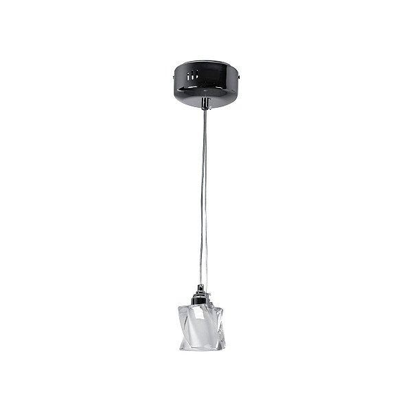 Pendente Vertical Torcido Difusor Vidro Cristal Cabo Regulável 6x8 InBarletta Luciin G9 Je064 Salas e Hall