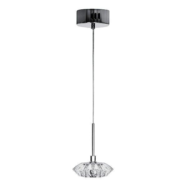 Pendente Vertical Cromado Vidro Cristal Transparente Design Diamante 11x5 InMessina Luciin G4 Zg046/1 Cozinhas e Salas