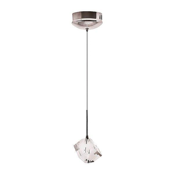Pendente Vertical Cromado Cubo Cristal Transparente 7x7 InPiazza Luciin G4 Zg139/1 Cozinhas e Quartos