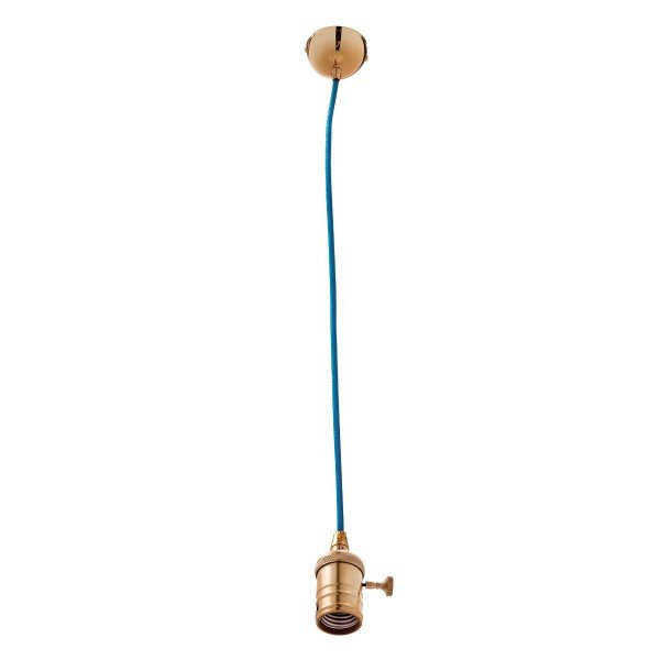 Pendente Design Moderno Dourado Cabo PP Colorido Azul 1,32m Inannata Luciin E-27 Zg171/6 Quartos e Salas