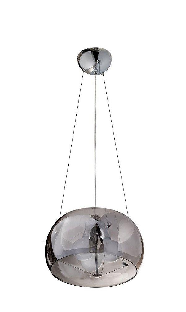 Pendente 1/2 Esfera Cromado Cúpula Vidro Fumê 3 Lâmpadas 220v 40x20 InTulle Luciin E-27 Zg174/2 Entradas e Quartos