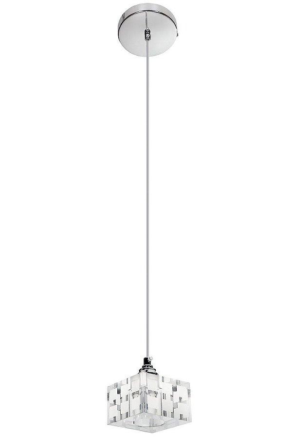 Pendente Vertical Redondo Cromado Cubo Cristal 1,20m InDiffusore Luciin G9 Zg232 Quartos e Salas