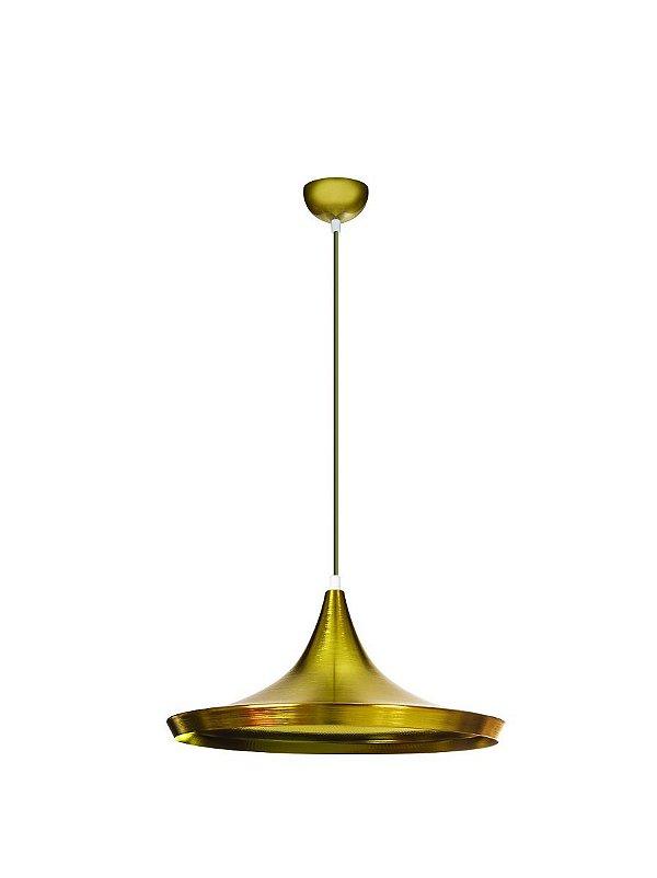Pendente Vertical Disco Dourado Alumínio Decorativo Tom Dixon 36x16 InDisco Luciin E-27 Zg233/13 Salas e Hall